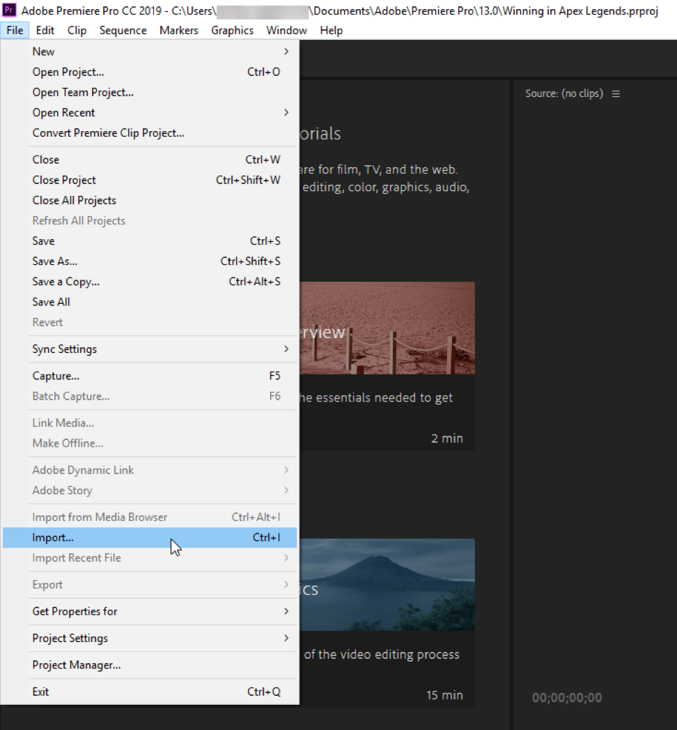 Elgato 4K Capture Utility - Opening  aaf Project Files with