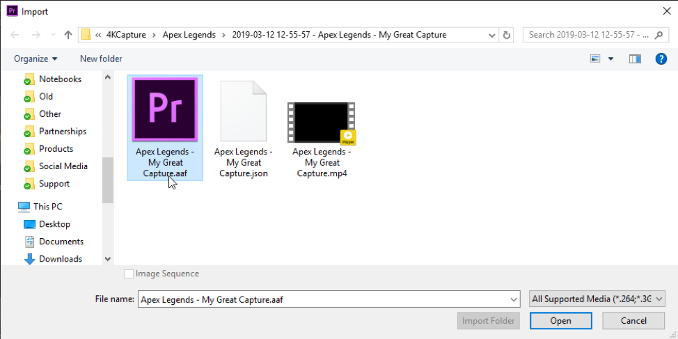 Elgato 4K Capture Utility - Opening  aaf Project Files with Adobe