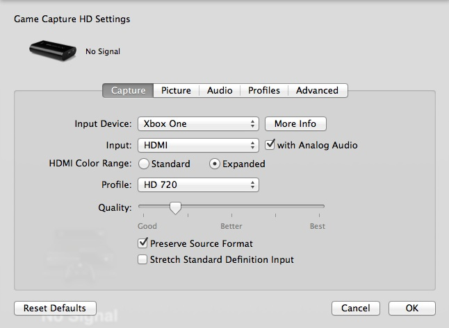 Capture settings and Elgato Game Capture HD – Elgato Gaming